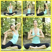 Collage of young beautiful woman doing yoga exercises in park