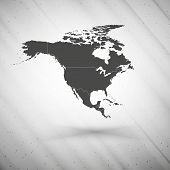 North america map on gray background, grunge texture vector illustration
