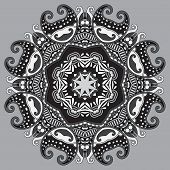 grey circular decorative geometric pattern for yoga fashion desi