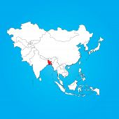 stock photo of bangladesh  - A Map of Asia with a selected country of Bangladesh - JPG