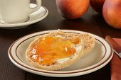 English Muffin With Peach Jam