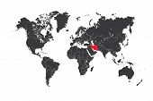Map Of The World With A Selected Country Of Iran