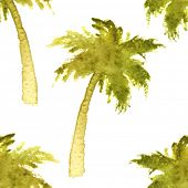 foto of washingtonia  - seamless pattern with watercolor palm trees - JPG