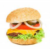 Close up of tasty hamburger.