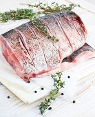 Fresh water fish cut into steaks