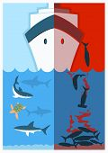 Stop Shark Finning.vector Color Illustration