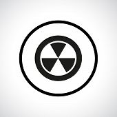 Radiation hazard symbol in a circle.