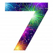 Number of colorful firework, seven