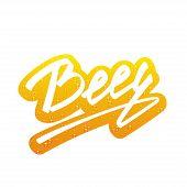Vector Beer lettering Handmade Calligraphy sticker with beer texture
