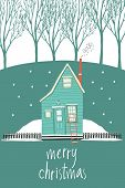 Merry Christmas Design Card With A House In A Winter Forest