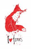 I Love Foxes Card With A Red Fox