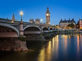 Big Ben, Queen Elizabeth Tower And Wesminster Bridge Illuminated In The Morning, London, United King