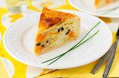 image of phyllo dough  - A Piece of Greek Rice Pumpkin Kalamata Olive and Feta Pie - JPG