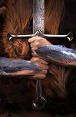 foto of redheaded  - Beautifull redhead strong viking warrior woman - JPG