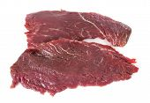 stock photo of flank steak  - Flank steak in front of white background - JPG