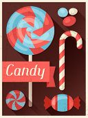 Candy retro poster background design in flat style.