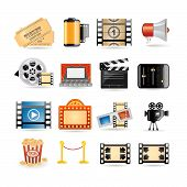 stock photo of clapper board  - Movie icon set illustration for web and internet - JPG