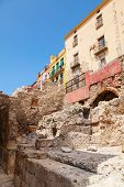 Street With Living Houses In Old Tarragona, Catalonia, Spain