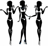 Black Woman in a Swimsuit set. Silhouette. Stock Vector