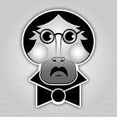 Sticker - Man With Glasses, Mustache And Bow Tie