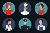 People profession, occupation. Firefighter, cooker, stewardess, doctor, policeman, worker. Vector il