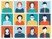 Collection of characters - avatars in flat design style. Can be used for social networking.