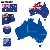 Australia set. Detailed country shape with region borders, flags and icons isolated on white backgro