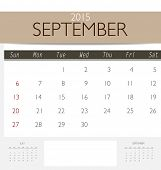 2015 calendar, monthly calendar template for September. Vector illustration.