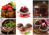 Set chocolate pastries - cake, muffin, cupcake and roll