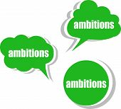 Ambitions Word On Modern Banner Design Template. Set Of Stickers, Labels, Tags, Clouds