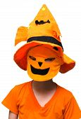 Halloween: Boy  Pumpkin Mask Trick Or Treating