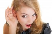Blonde Surprised Gossip Girl With Hand Behind Ear Listening Secret