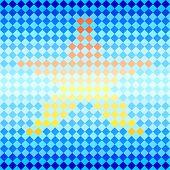 Blue diamond and star shape mosaic striped geometric seamless pattern, vector