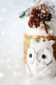 Christmas Decoration With Fairy White Owl