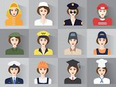 Set Of Icons Of Male Profession For Women