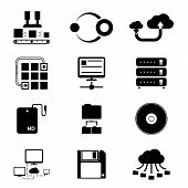 Storage and Data Transfer Icons on White