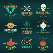 stock photo of witch  - Vintage Typography Halloween Vector Color Badges or Logos Pumpkin Ghost Scull Bones Bat Spider Web and Witch Hat on Black Background - JPG
