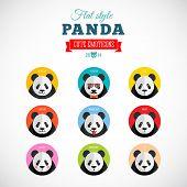 Flat Style Panda Emoticons Vector Set