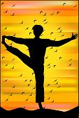 Silhouette Of Man In Yoga Pose At Sunset