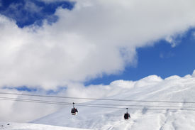 stock photo of lifting-off  - Gondola lifts and off - JPG