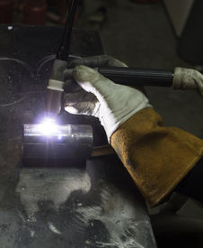 stock photo of tig  - Tig welding a test sample of pipe  - JPG