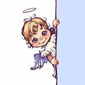 Vector illustration of cute angel with panel for text