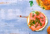 foto of bagel  - bagel with a smoked salmon and cream cheese - JPG