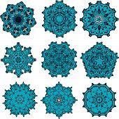set of mandalas snowflakes