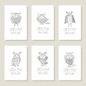 Set of cards, invitation with hand drawn vector owls.