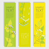set of banners with floral elements