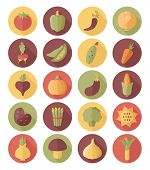 Vegetable Flat Icon With Long Shadow