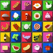 Twenty Five Square Flat Icon Italian Food