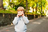 Outdoor portrait of adorable toddler boy in autumn park, having fun and eating a biscuit
