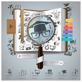 Education And Graduation Infographic With Magnifying Glass And Book Icon Diagram